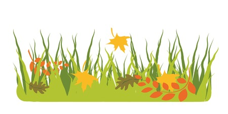 Autumnal background with the leaves on a grass.  You can find similar images in my gallery!