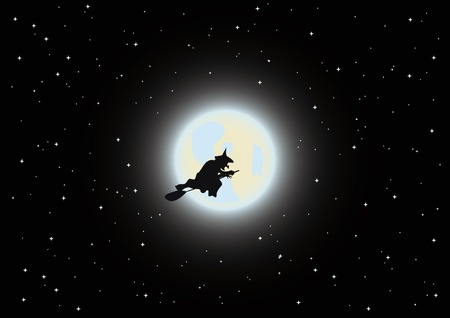 witch is flying by the broom Vector