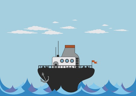 illustration of toy steamer in the sea Stock Vector - 3697016