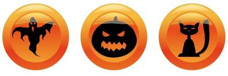 Halloween icons 2 (ñat, pumpkin ,ghost) Vector