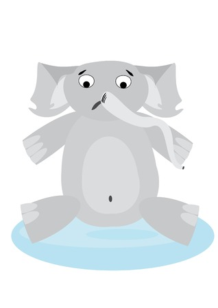illustration with upset elephant  in pool. You can find similar images in my gallery!