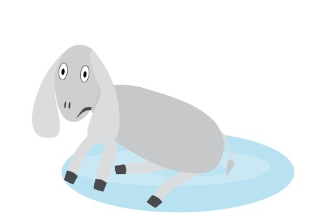 find similar images: Illustration with upset donkey in pool. You can find similar images in my gallery!