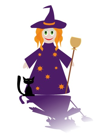 Cartoon figure of little witch with cat. You can find similar images in my gallery! Stock Vector - 3697973