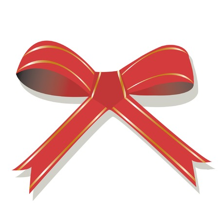 Red bow with golden stripes. Vector illustration. You can find similar images in my gallery! Vector