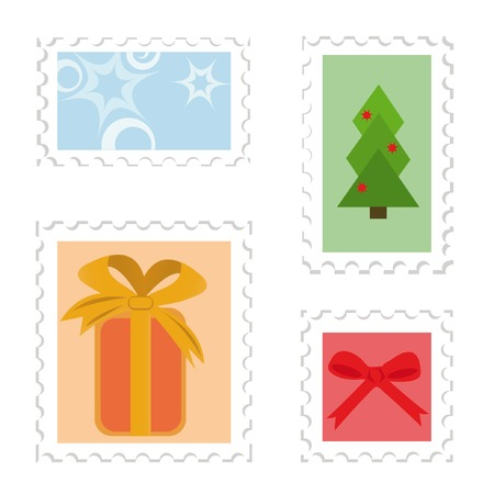 Set of postage stamps. Christmas theme (gift box, christmas tree, star, red bow) Vector