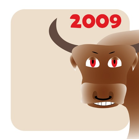 New year frame with bull Vector