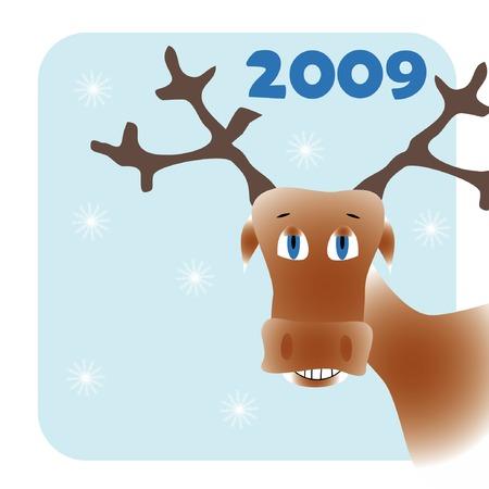 New year frame with cartoon deer Stock Vector - 3768421