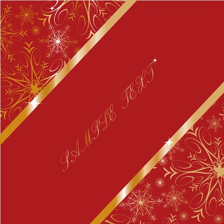 Frame with gold snowflakes on red background. Vector illustration.