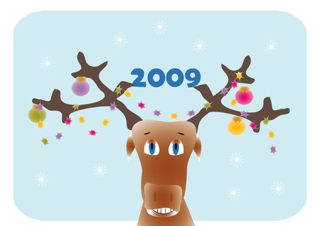 New year frame with cartoon deer  Stock Vector - 3895504