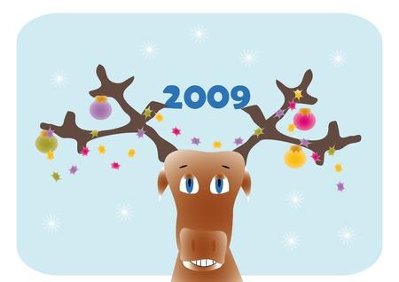 New year frame with cartoon deer Stock Vector - 3895504