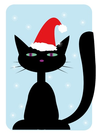 Black cat wearing in santa-claus hat  Stock Vector - 3895505