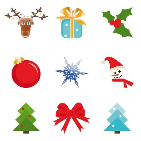 Christmas set (deer, gift-box, holly, ball, snowflake, snowman, bow, cristmas tree). Vector illustration. Stock Vector - 3895467