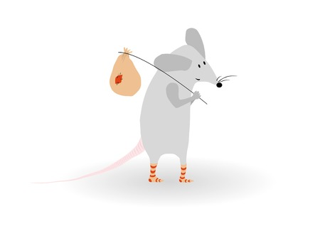 funny mouse with road bag Stock Vector - 3983747