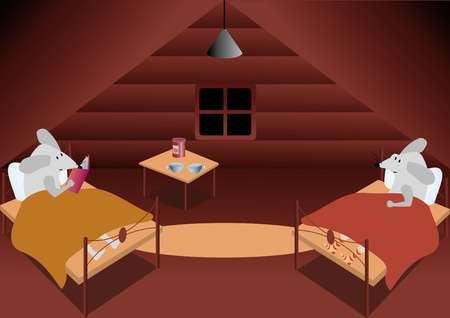 sleeping room: illustration with mouse