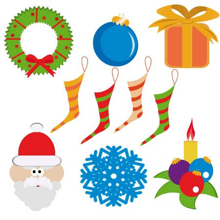 Cristmas set( garland, santa-claus, ball, gift-box, snowflake, candle, socks). Vector illustration. Vector