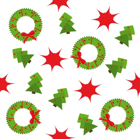 Seamless pattern with christmas trees and garlands Vector