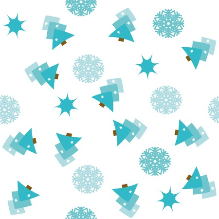 Seamless pattern with christmas trees, stars and snowflakes Vector