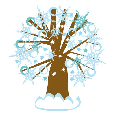 Winter tree with snowflakes, circles and stars Stock Vector - 3983790