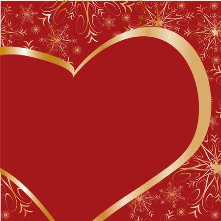 Frame with gold heart on red background Vector