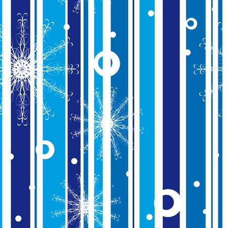 Seamless pattern with snowflakes on striped background Vector