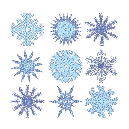 Nine color snowflakes. Vector illustration. Vector