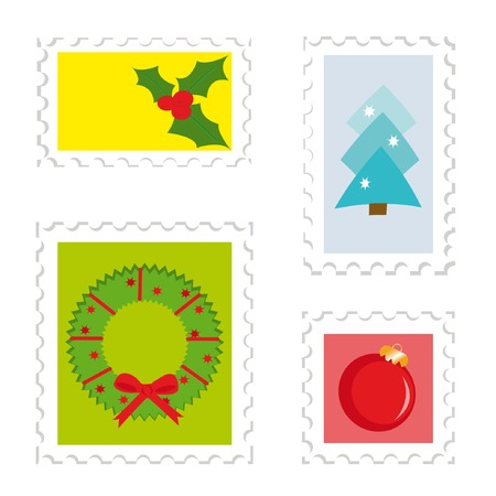 Set of postage stamps 2. Christmas theme (holly, fir-tree, wreath, ball) Vector