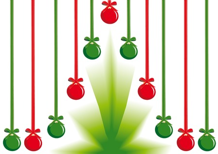 Holiday background with hanging decorative balls and christmas tree Vector