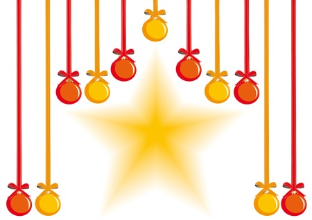 Holiday background with hanging decorative balls and star Vector