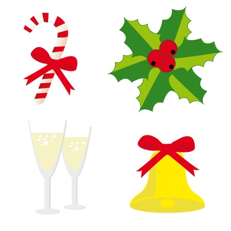 Christmas set 3 (bell, two glass of champagne, candy cane, holly). Vector illustration. Vector