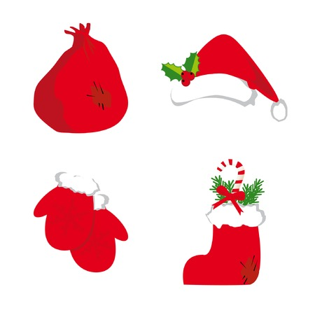 Christmas set 4 (santas hat, boot, mittens, bag). Vector illustration.