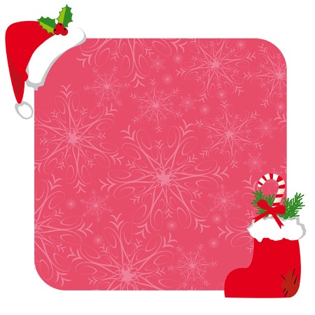 Christmas frame with hat of santa claus and snowflakes on pink background Stock Vector - 3983796