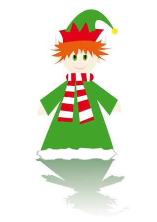 Cartoon figure of little christmas elf Vector