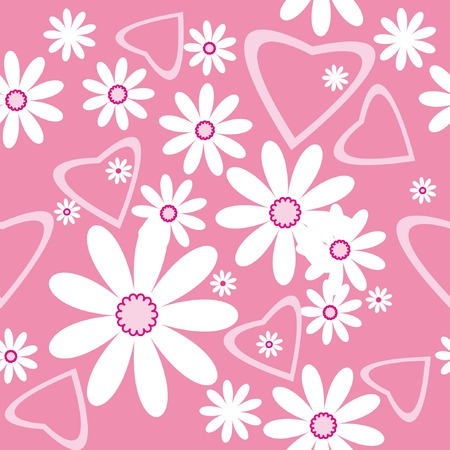 Seamless pattern with chamomiles and hearts on pink background Vector