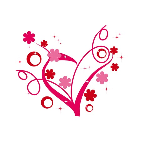 Abstract floral heart fo valentines day Vector