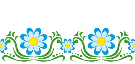 Seamless ornament with blue chamomiles Vector