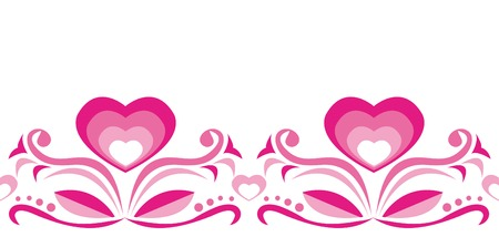 Seamless ornament with pink hearts on white background Vector