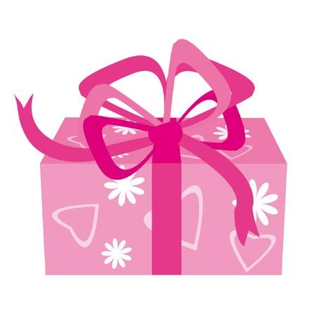 st valentine: Caja de regalo con flores y corazones para d�a de San Valent�n Vectores