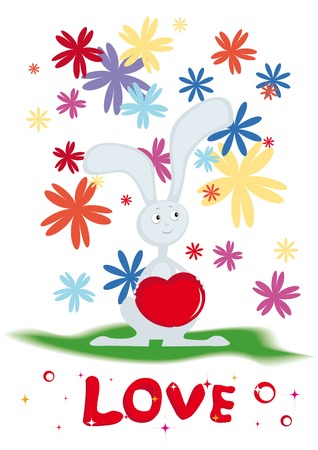 Card for Valentines day with the rabbit Vector