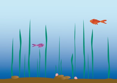 illustration with two little fishes in the aquarium Vector