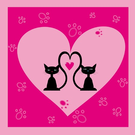 greeting card with two black cats Vector