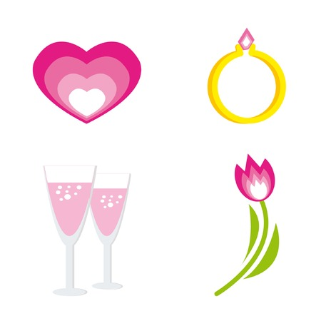 Set of icons for st. Valentine day (heart, ring, tulip, two glasses with champagne). Vector illustration. Stock Vector - 4131678