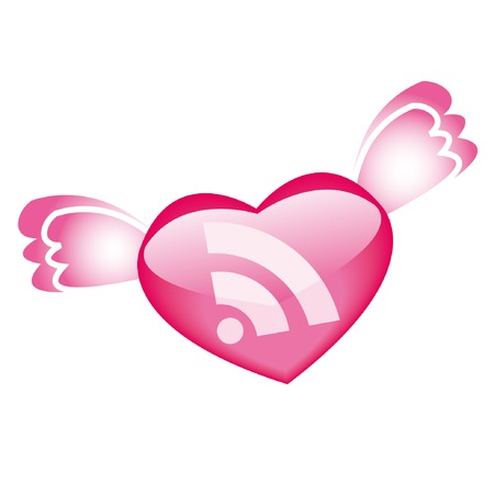 RSS icon with wings for St.Valentine day Vector