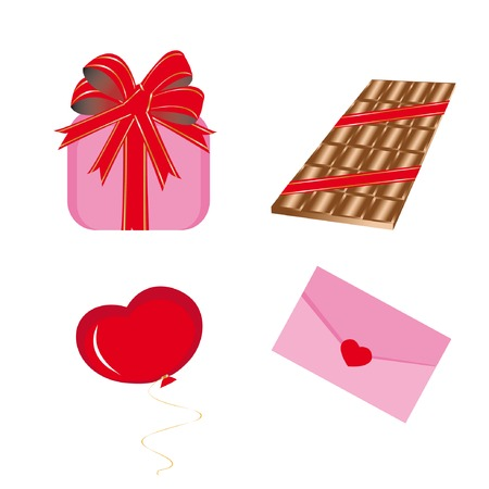 Set of icons for st. Valentine day (gift-box, slab chocolate, envelope, balloon). Vector illustration. Vector
