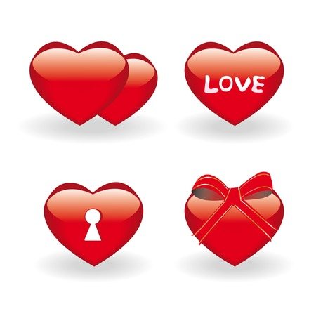 Set of four icons with hearts for st.Valentine day Stock Vector - 4131684