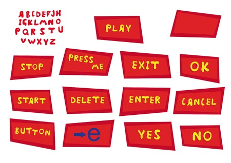 vector set with red buttons and alphabet for web design Vector