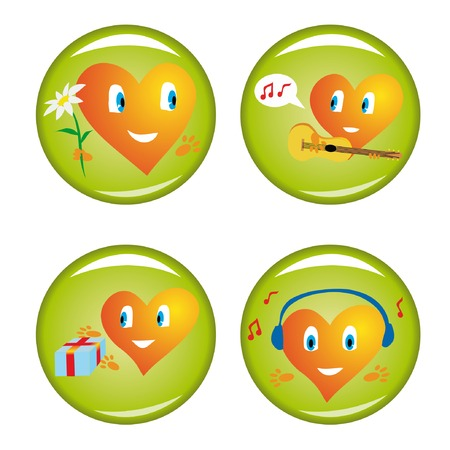 Set of four st. Valentine buttons. Vector illustrations. Vector