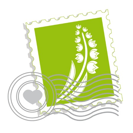 Postage stamp with lily of the valley for st.valentine day Stock Vector - 4174620