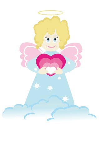 Cartoon figure of little angel with heart. Good for greeting card. Vector