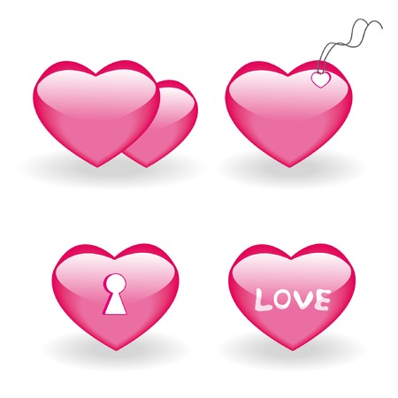 Set of four icons with hearts for st.Valentine day 2. Vector illustration. Stock Vector - 4174632