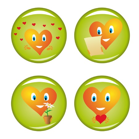 Set of four st. Valentine buttons 2. Vector illustrations. Stock Vector - 4174623